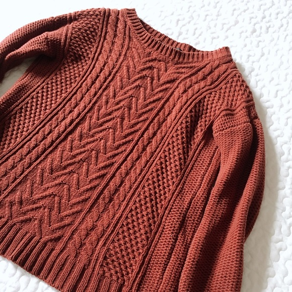cf3e8182da6a50 Forever 21 Sweaters - Rust Cable Mixed Knit Chunky Sweater Forever 21